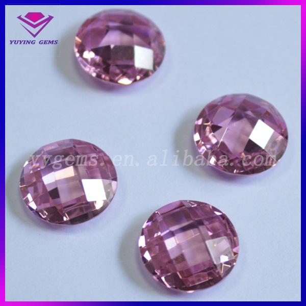 Round Checkerboard CZ Pink Machine Cut Drilled Cubic Zirconia Loose Stone