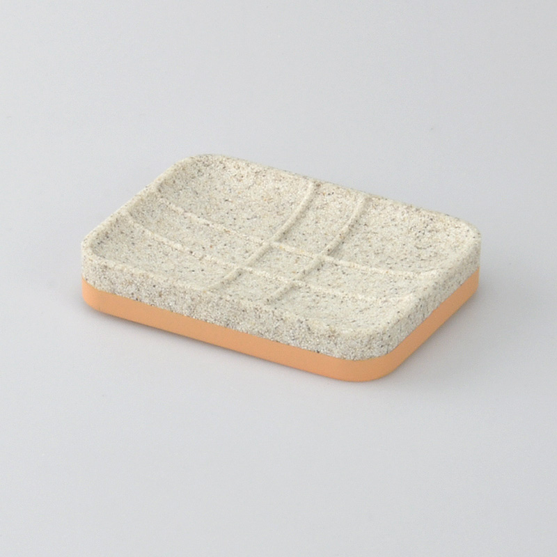 In Stock Yellow Sand Polyresin Rectangle Soap Dish