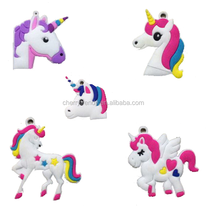 Lovely Random Mix Designs Toy Novelty Unicorn PVC <strong>Charms</strong> For Keychain