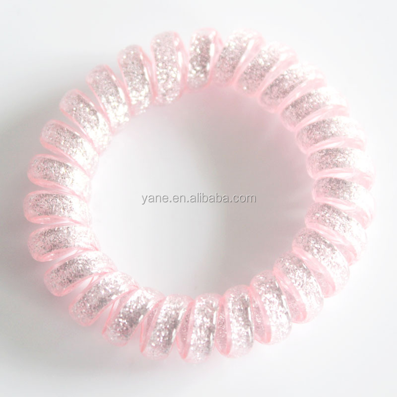 Fashionable glitter telephone wire hair ties,telephone line hair bands