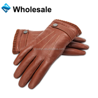 classical men sheep leather winter cycling gloves