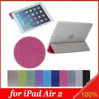 2015 Pure Candy Color 3 Folded Flip Silk Leather Smart Case Cover for iPad Air 2