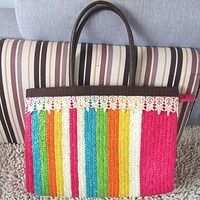 hot sale promotion cheap paper straw bag color collision beach bags S038