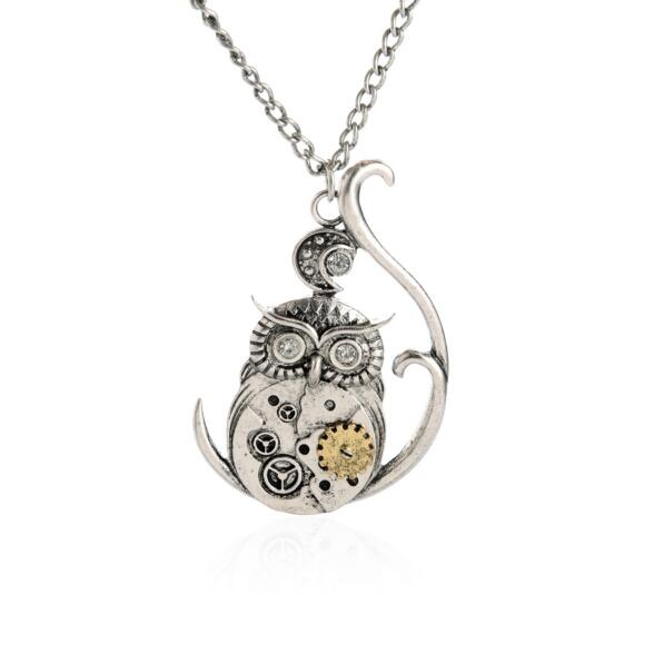CZ038 Huilin Jewelry Men' Jewelry Vintage Classic Steampunk Owl Gear Pendant Necklaces for Men Jewelry Silver Color