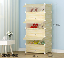 6 cubes plastic shoe rack storage cabinet with wood grain