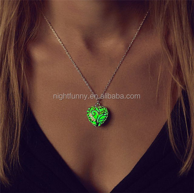 Small Green Glowing Heart Necklace,Glow Necklace, Glow in the Dark Jewelry