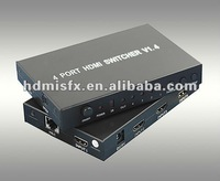 3D hdmi video projector switcher,mini 4 to 1 hdmi 1.4 1080p adapter