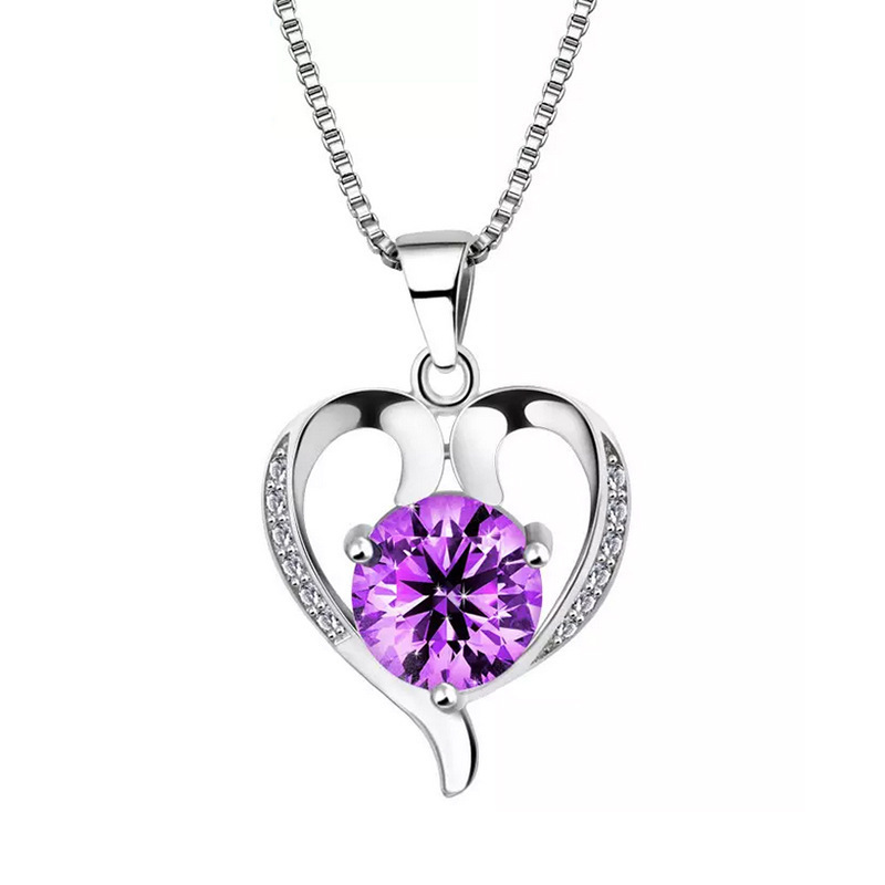 Wholesale Love Heart Necklaces White Purple CZ Valentine's Day Gift <strong>Pendant</strong> shipping heart <strong>pendant</strong>