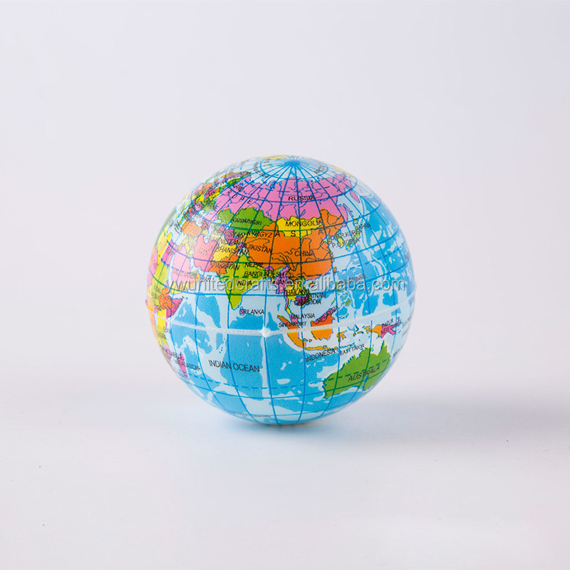 FOAM EARTH BALL World Map Globe Atlas Kids Squeeze Bouncy Stress Relief Palm Toy