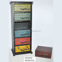 shabby chic tall wooden cabinet with six colourful metal drawers