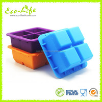 100% Premium FDA 4 Cavities Square Silicone Baby Food Storage Box,Freezer Tray with Lid