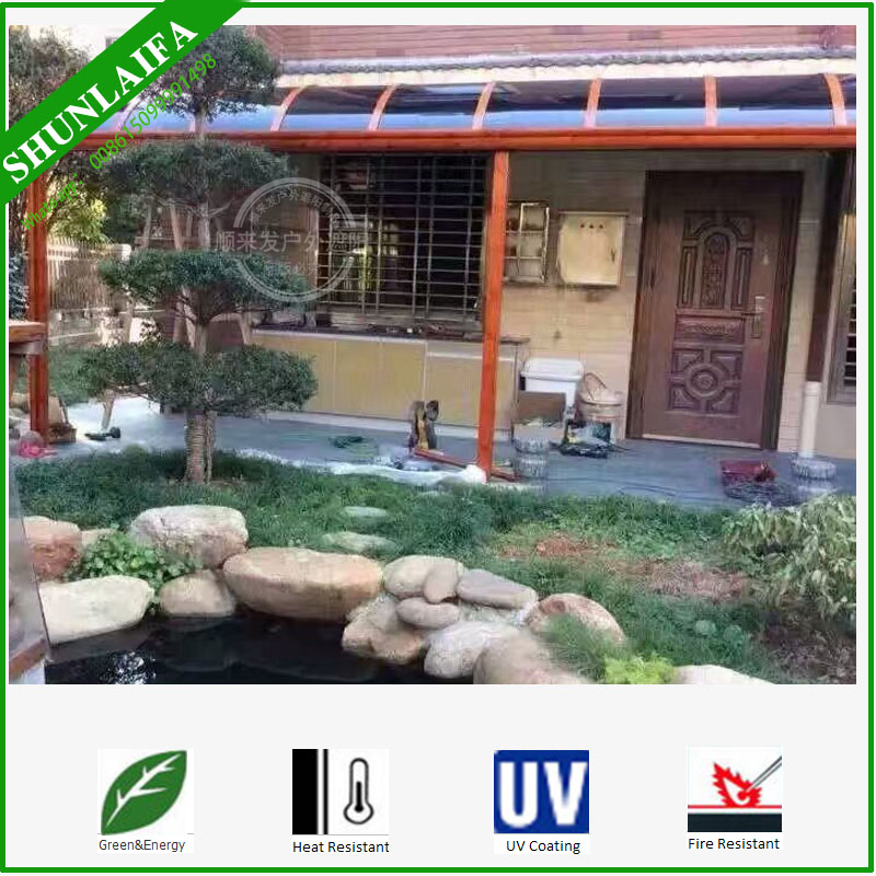 Clear Glass Door Curved Canopy Sunshade Polycarbonate Roof Awning Prices