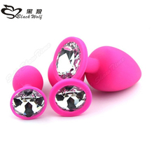 Black wolf brand wholesale china anal plug sex toys set large wearable deluxe chastity ass toys sm silicone anal plug for couple