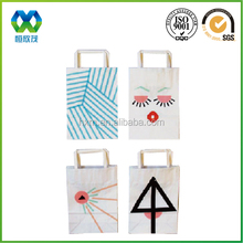 Thin white craft paper flat handle logo printed nice shopping paper bag/paper bag for shopping