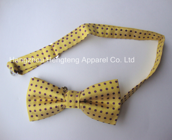 Pre tied Silk Woven Bow Tie Yellow Color Dotted Design
