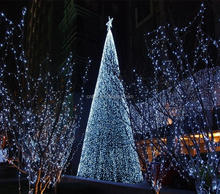 New Outdoor Artificial Fiber Optic Christmas Tree, Green Tree With Colorful LED Lights