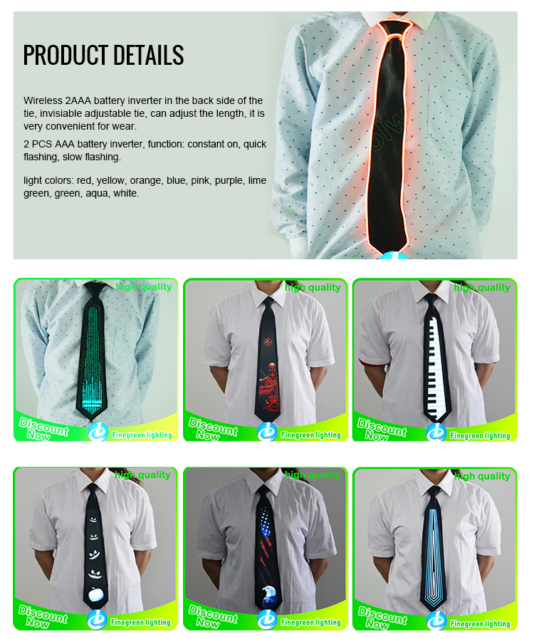 2018 hot sale attractive el tie glow tie light up christmas tie