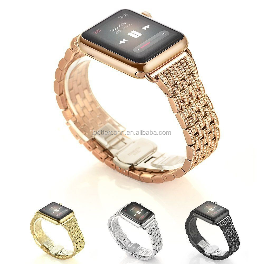 Alloy Rhinestone Diamond Stainless Steel Watch Band for Apple Watch Series 1/2