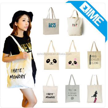 2017 Hot Selling 10OZ White Standard Size Printed Cotton Canvas Tote Bag