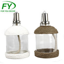 Simple design stainless steel and glass citronella oil lamp tops ornaments
