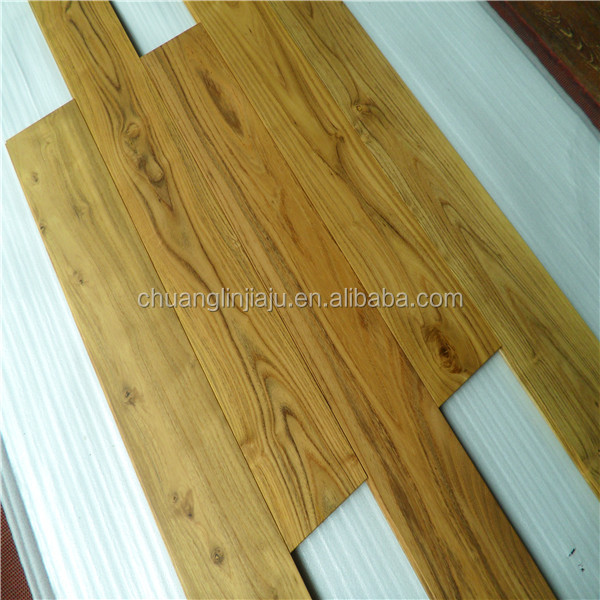 Finshed natural solid Chinese teak textured wood floors