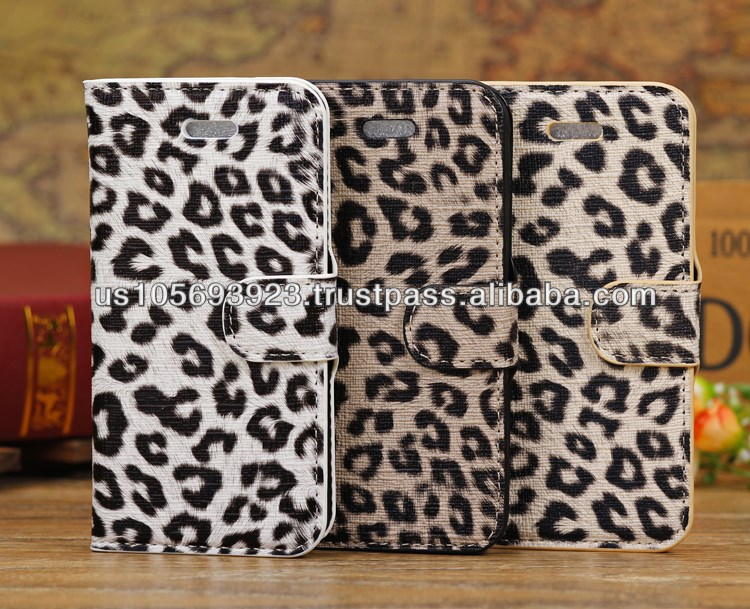 leopard Credit Card Smart stand Leather Case Cover For Iphone 5c 3colors
