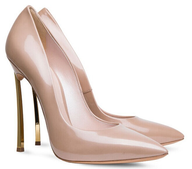 Get Quotations · Glitter pointy high heels women Sexy nude printing leather  golden heel women party pumps So kate 7ed56c30a0f5