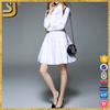 OEM clothing factory women long sleeve white waist mini dress