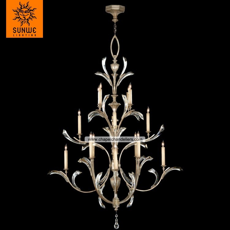 Large 16 lights Metal Crystal Warm muted silver leaf candle contemporary chandelier for stairwell