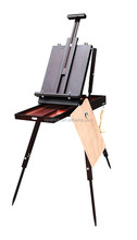 Promotion Nut-Brown Portable Pine wood Sketching French easel box with handle