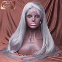 High Quality Full Hand Made Virgin European Hair Ombre Full Lace Wig 1B Grey full lace wig