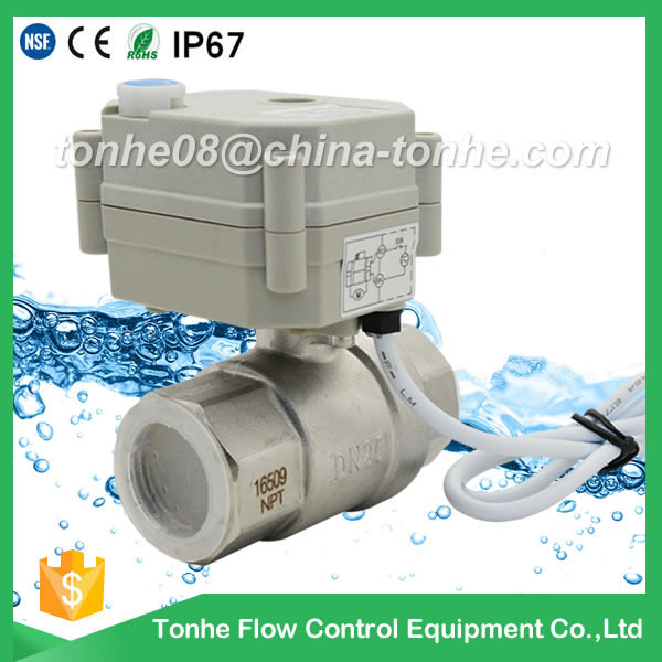 DN25mm CR201 2 way motorized electric ball valve stainless steel