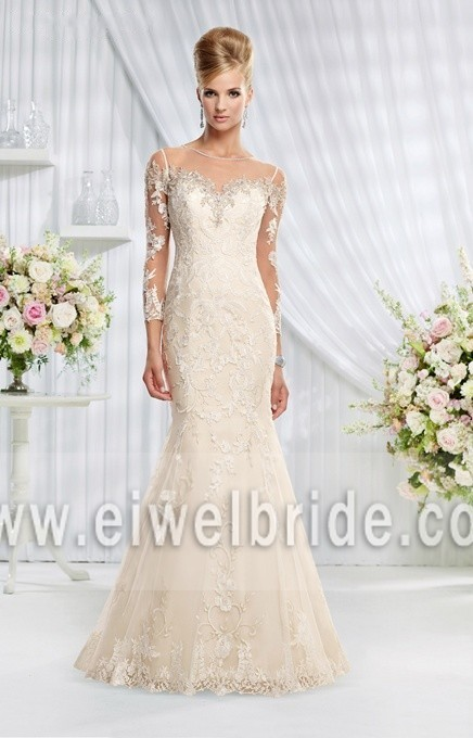 Simple Long Transparent Sleeve See Through Back Champagne Plus Size Wedding Dress 69004
