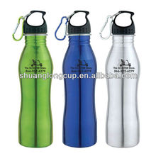 17oz 500ml and 25 oz 750ml Curvy Stainless Steel Water Bottle W/ Carabiner