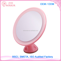 White color suction base magnifying round shaped professional wall mounted lighted makeup mirror