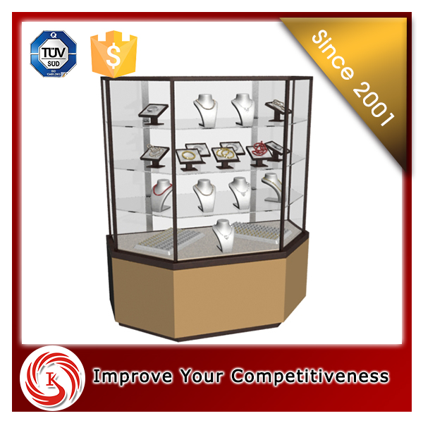 wood jewelry display counter/names decorative jewelry stand and tempered glass case/jewelry display cabinet