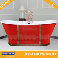Red bathtub enameled cast iron with sheet/studded bath tube project
