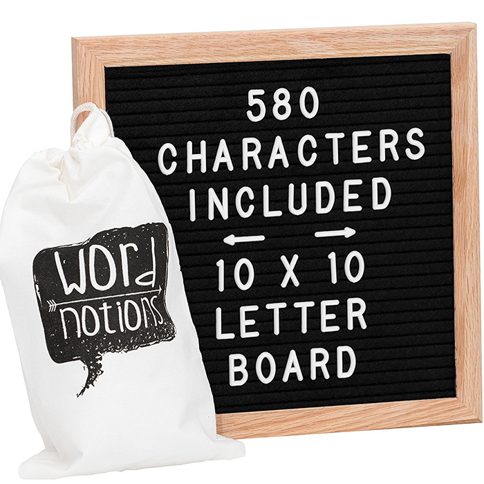 custom size 10x10 inch wooden frame felt letter board with 340 letters
