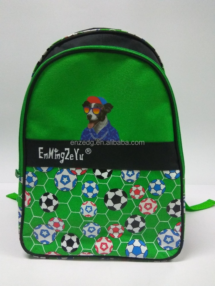 green football pattern school bag pack new fashon high school backpack 600D polyster