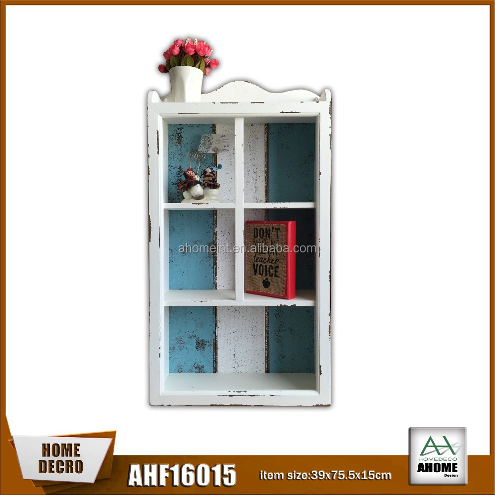 Home Antique Decorative Wooden Wall Cabinet In White And Blue Color With 5 Opening Frame