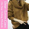 Custom 2016 handmade Khaki Oversized Cowl Neck Cable modern Knit Sweater