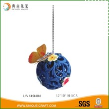 Blue Outdoor Garden Decor Small Metal Butterfly Hanging Hollow-carved Solar Light Resin Ball Light