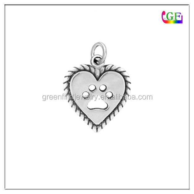 Custom metal Silver heart paw print charm with jump ring