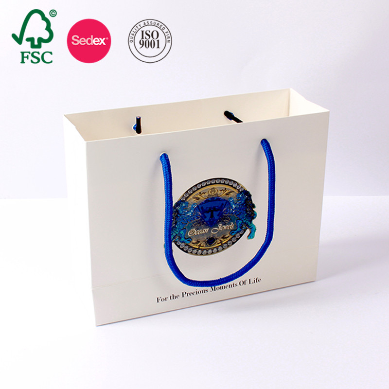 Custom White Cheap Price Printed Craft Gift Luxuy Shopping Kraft Paper Bag Made In China