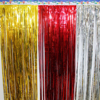 1mx2m Gold Tinsel String Foil Fringe Curtain Shiny Shimmer Party Wedding Birthday Door Decoration Gold Tinsel Curtain