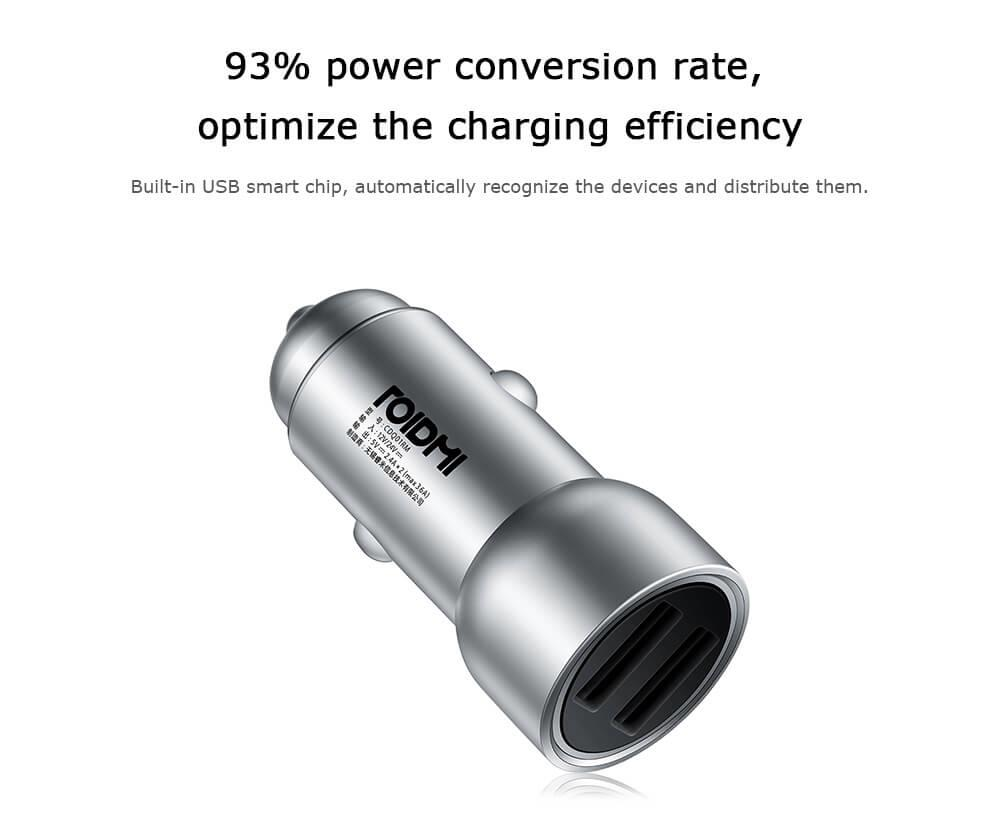 Original Xiaomi Roidmi C1 Car Charger Metal Body Dual USB Port 5V 3.6A Quick Charger Smart Charging Universal For iPhone iOS And Android (6)