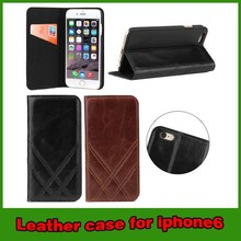"High quality genuine leather wallet case for iphone 6 4.7"" 5.5"""