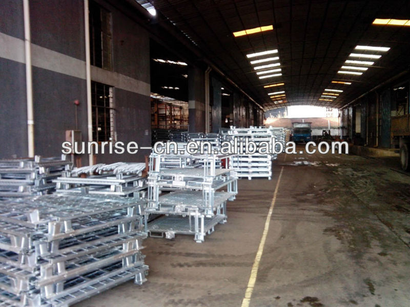 4 Wheels Foldable Storage Steel Pallet Racking Wire Mesh Cage For Wholesalers