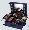 Professional Rolling Beauty Cosmetic Case Makeup Case With Lights KL-MCL001 BLACK