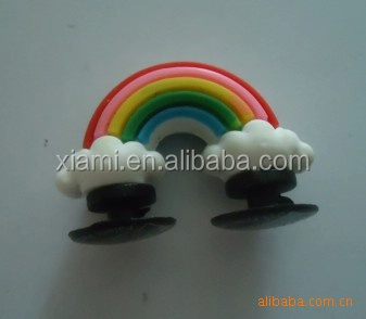 novel creative design beautiful rainbow mode embossing rubber shoes charm